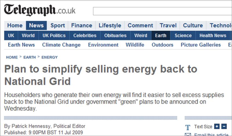 Selling energy back